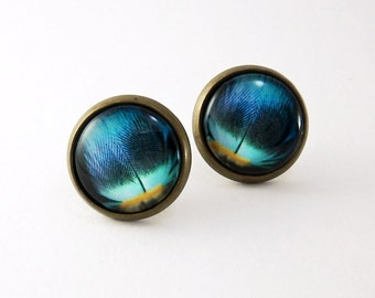 CLEARANCE SALE - Blue Feather - Antique Bronze Glass Stud Earrings