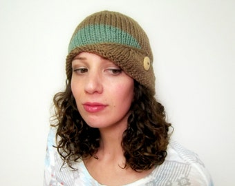 Womens Beanie Knit Cloche Hat Ladies Cap Etsy Fashion Fall Accessories Summer Tan Green Knitted Tam Button Beret Crochet Gifts Adult