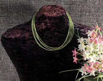 Peridot Necklace,  Multi Strand  Necklace, Beadwork, Bib, Green Stone, Statement Necklace, Ethnic Jewelry, Beaded Tribal Necklace