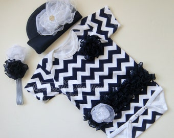 Navy and White Chevron Baby Girl Take Home Outfit - Newborn Baby Girl Coming Home Set - Onesie, Headband, Hat - Unique Baby Girl Shower Gift