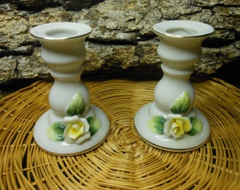 Candle Holders-White with yellow roses-Set of 2