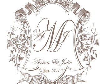 Wedding Monogram Crest Custom Created in Your Wedding Color,Personal Monogram, Wedding Logo, Digital Wedding Monogram,Wedding Crest by No. 9