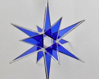 "12 Point Moravian Star. Cobalt Christmas Star. 3D Stained Glass Suncatcher. 6.5"" star."