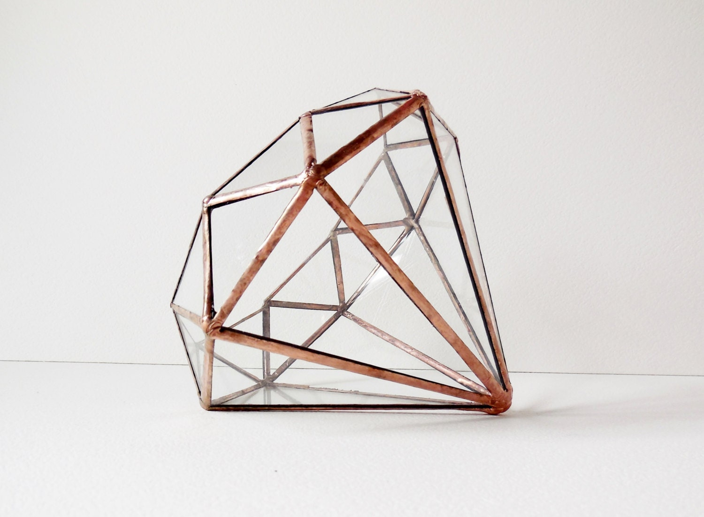 Diamond Terrarium Stained Glass Planter Geometric Terrarium