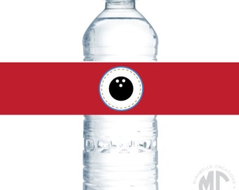 Customizable Water Bottle Labels / Napkin Rings -- Retro Bowling Collection -- Mirabelle Creations