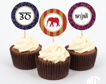 Indian Printable Digital Party Circles / Cupcake Toppers -- Mirabelle Creations