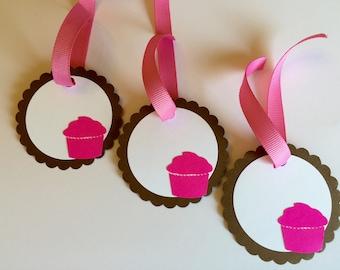 "12 Cupcake Gift Tags 2 1/2"""