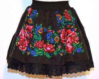 Gypsy Skirt , Gypsy Flower Skirt , Folk Skirt , Bohemian skirt , Boho Skirt , Urban Skirt