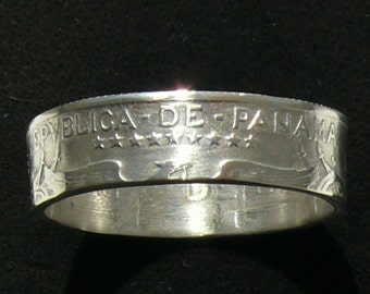 1930 Republica de Panama 1 Quarto Silver Coin Ring, Ring Size 9 1/2 and Double Sided