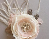 Wedding Hair Piece Bridal Hair Flower Wedding Fascinator Burlap Flower Hair Clip Rustic Vntage Champagne BLUSH Ivory Lace Wedding Accessory