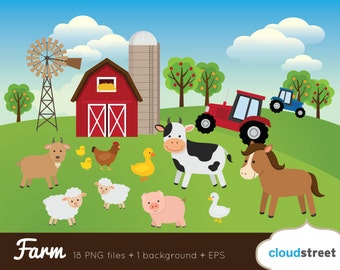20% OFF Farm Clip Art / Farm Animals Clipart / barnyard vector graphics illustration / barn cow sheep pig horse commercial use ok