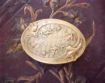 Beautiful Art Nouveau Era Sash Buckle With Lily Design