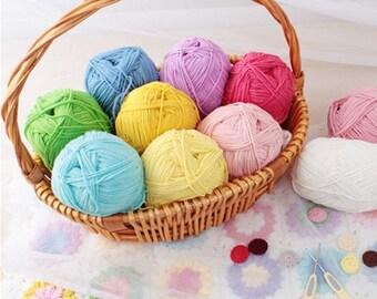48 Colors Milky Cotton Yarn / 90g Crochet Yarn / Knitting Yarn / Cotton Baby Yarn