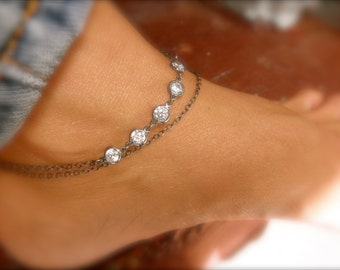 Layered chain anklet with cz charms - layered ankle bracelet - 925 oxidized sterling silver - black chain ankle bracelet - zirconia anklet -