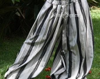 Black grey and silver striped harem pants for belly dance harem pants bloomers pantaloons tribal renaissance
