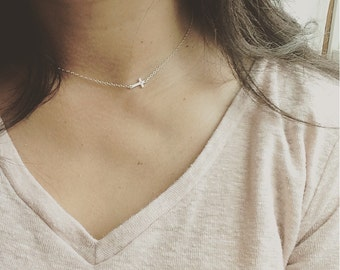 Sideways Cross Necklace - Tiny Cross Necklace - All 925 Sterling Silver  - Everyday Wear, Perfect to Layer - Holiday Gift