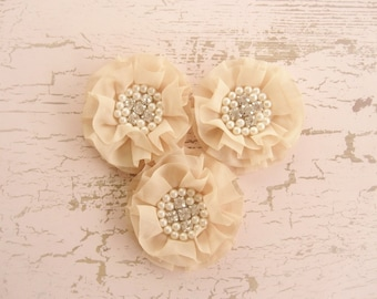 Champagne Chiffon Flowers with Rhinestones and Pearls - Tea-Stained Hand-dyed