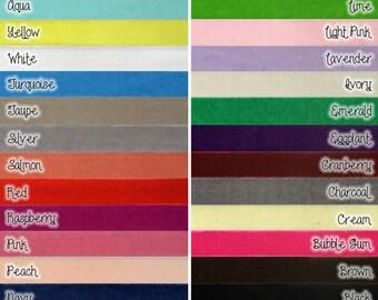 Stretch VELVET Elastic (skinny) 3/8th inch width - 5 yds - you CHOOSE colors