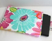 Quilted Microsoft Surface Sleeve or Surface 2 Cover or Kindle DX Bag Bright Floral Surface Sleeve