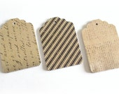 hand punched merchandise tags die cut tags embellishment gift tags 3 dozen trio script stripes newspaper print hang tags gift wrap tags