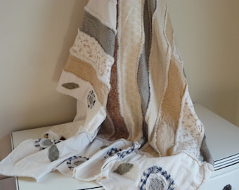 French Country Quilt - Rag Quilt - Country Decor - Large French Throw
