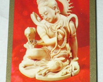 Buddha Deity God Goddess Bird-Beads Playing Cards Deck Red-Gilt Games Swap Trade Crafts Altered Art Scrapbooking