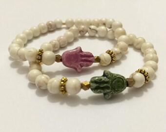 Green Ceramic Hamsa Beaded Bracelet