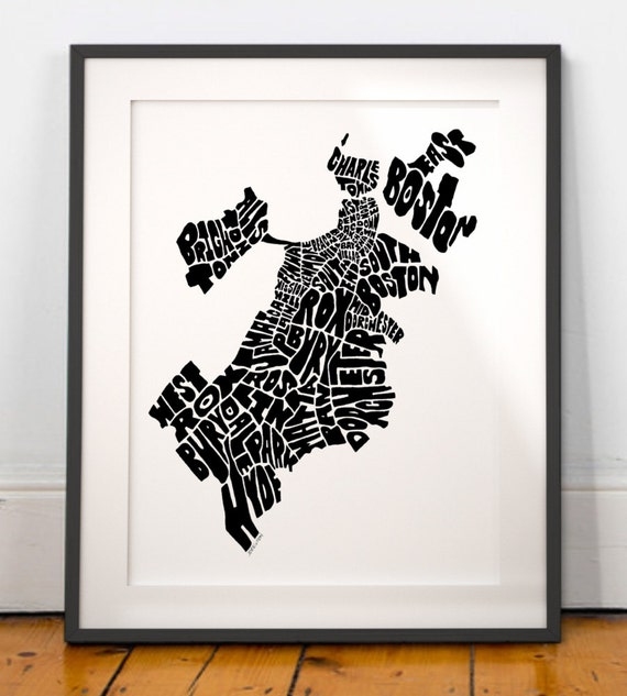 Boston Wall Art Maps Polyvore With Oliver Gal 39 Town Of