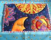 Quilted  Postcard - Laurel Burch Sun Moon Postcard - Handmade  Postcard - Fabric  Postcard - Patchwork  - Artist Postcard - Birds Post Card