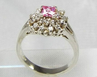 Princess Cut Pink Sapphire & Diamonds Tower Ring, Tiered Pink Princess Ring, Illuminated Diamond 925 Tower Ring, Pretty in Pink 925 Princess