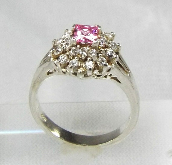 Ring Tiered Pink Princess Ring Illuminated Diamond  Tower Ring