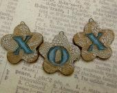 50% OFF 3 Rustic Beads Charms Pendants handmade ceramic  tags X O X love