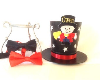 Child RingMaster Over The Top Under The Big Top - Mini Top Hat...Boy,Girl,Birthday,First Birthday,Wedding,Ringbearer,Costume,Photo Prop