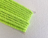 1.1 yards neon green, 5 mm twist cord, twisted , Wrapped Thread Cord, Satin Twisted cord , Decoration,Fabric Rope Trim Accent for Crafting