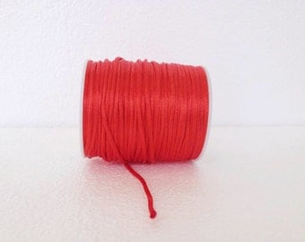 Cherry red Rattail Cord, Knotting cord, 2.5 mm red Satin cord, Beading cord, Jewelery supplies, cord for bracelet, 10 meters(11 yards)