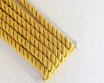 10 mm twist cord, Gold decoration trim (1.1 yard) Gold cord, Satin twist cord, Silk twist cord, Decoration trim, Silk gold trim braided cord