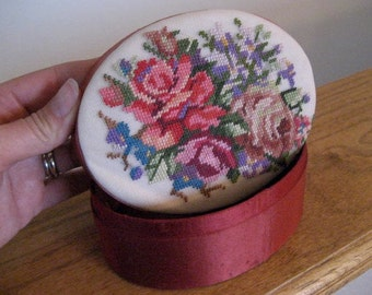 Vintage needlepoint jewelry box.  Dresser box.  Satin lined.
