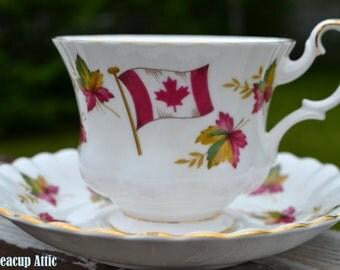 Royal Albert Teacup and Saucer Canada From Sea to Sea, Canadian Souvenir, English Bone China Tea cup, ca. 1960-1970