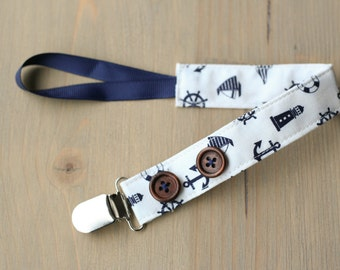Boy pacifier clip, navy nautical pacifier holder, button pacifier clip, baby boy gift, baby shower gift