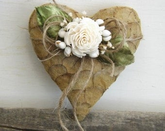 Ring Bearer Pillow Alternative Small Rustic Heart with Sola Flower Made to Order