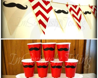 Mustache Banner and 12 Cups - Party Banner -mustache bunting- Red Chevron- Little Man Party- Mustache Party Decorations