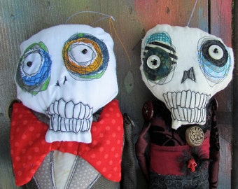 Skeleton couple with red Dia de los Muertos handmade monster art dolls