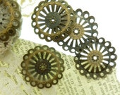 20  fluted edge filagree spacer beads in antique  bronze 22 mm