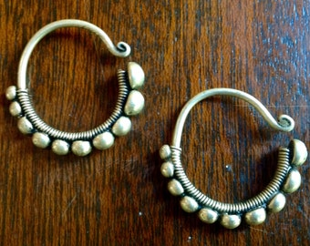 Miao Silver Tribal Hoop and Ball Earrings