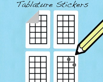Electric Bass and Ukulele / Uke / Ukelele Tablature Stickers (250 pack)  - Free Shipping