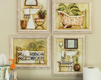 Safari, 8x10 Framed Bathroom Wall Art Set in White (5130810ART28A)