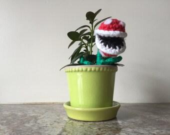 Piranha Plant Planter Decoration from Super Mario Bros Crocheted Mini Amigurumi Kawaii Miniature Doll