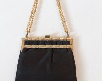 Black Handbag w/ Gold Accents