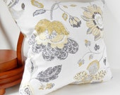 "Pillows, Decorative Throw Pillows, Large Yellow Flowers, Light Gray on Light Beige, Modern Pillow Cover, 20""x20"""