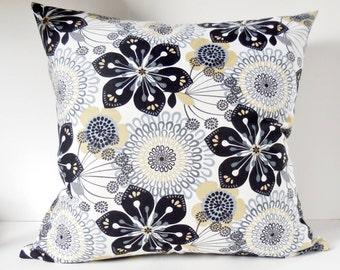 "Pillows, Black and Gray Flowers on White, Yellow and light Beige, Modern, Pillow Cover, 20"" x 20"", Ready to ship."